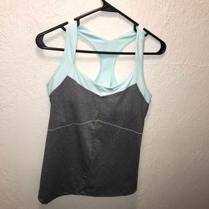 Baby blue and gray new balance workout top Med